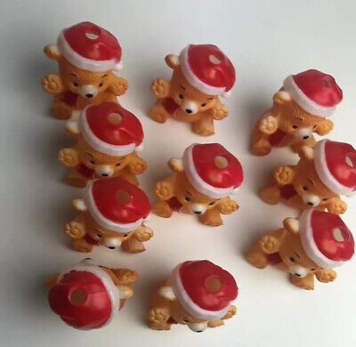 Vintage 10 Santa Teddy Bear Christmas Tree Lights Covers Blow Mold Plastic