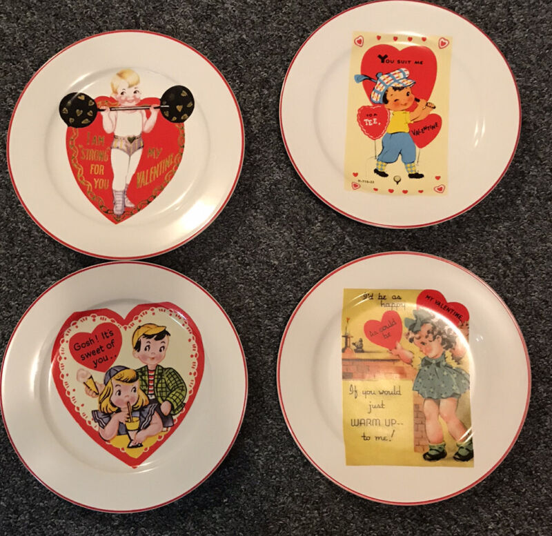 "Rosanna Studio Retro Valentine 8"" Set Of 4 Plates Boxed ""Happy Valentine's Day"""