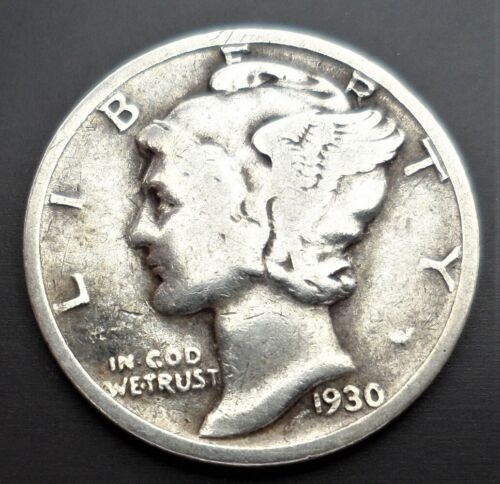 1930 S Mercury Dime circulated 90% Silver Very  Good to Very Fine