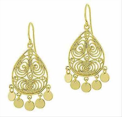 18k Gold Over Silver Filigree - 18K Gold over Silver Filigree Disc Chandelier Earrings