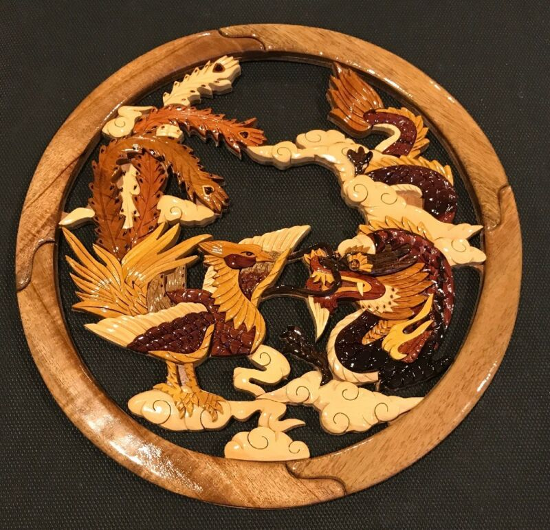 Beautiful Wooden  Dragon And Phoenix Wallart