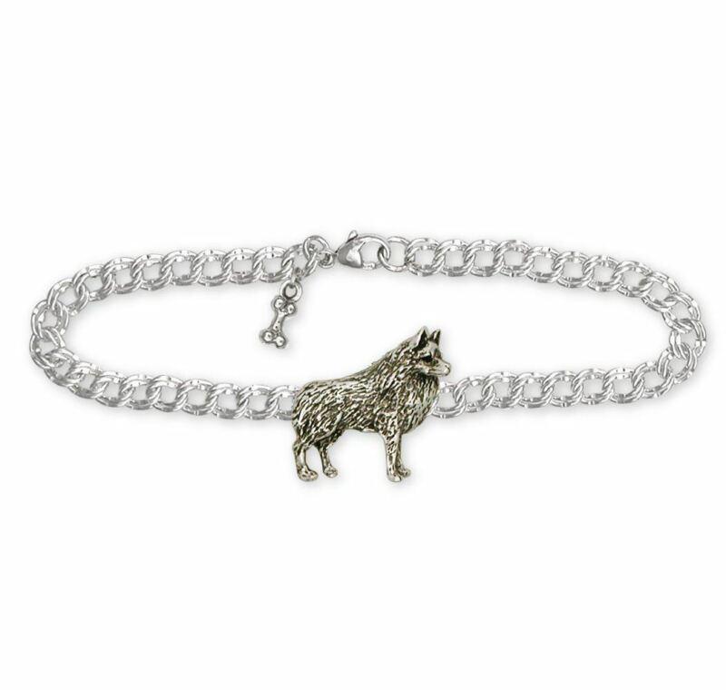 Schipperke Jewelry Sterling Silver Schipperke Bracelet Handmade Dog Jewelry SC4-