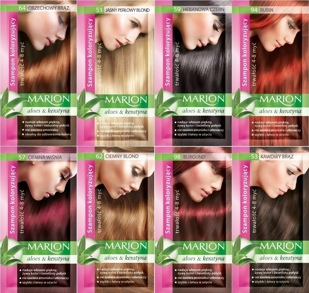 Marion Hair Color Shampoo In Sachet Lasting 4 To 8 Washes Aloe And