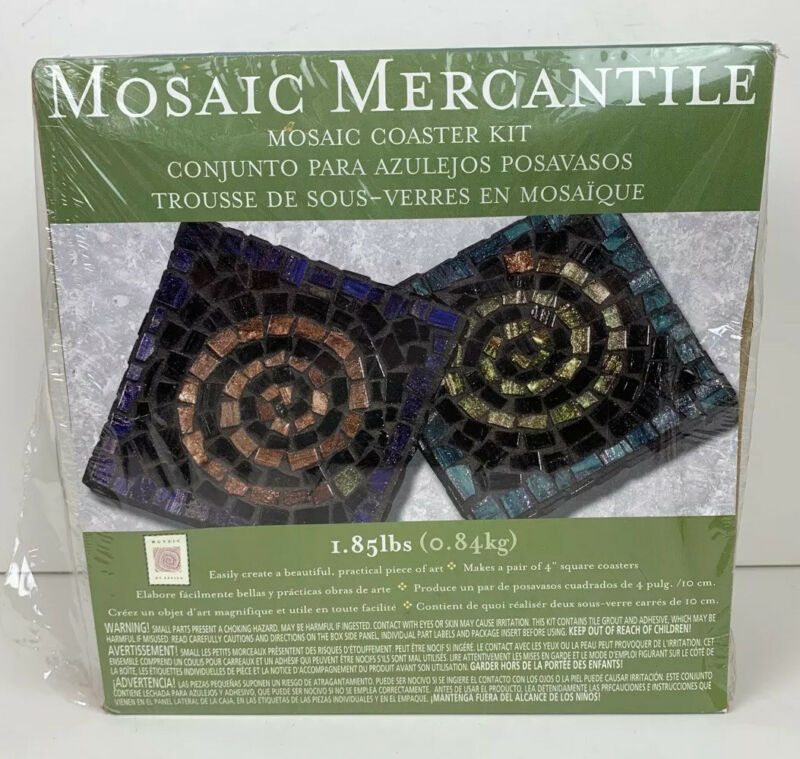 Mosaic Mercantile Coaster Kit Craft Makes 2 Coasters NEW In Box