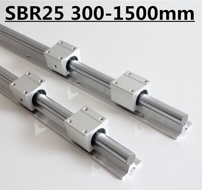 2 X Sbr25 Fully Supported Linear Rail L300-1500mm With 4 X Sbr25uu Bearing Block