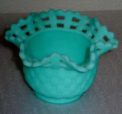 Vintage Aqua Blue Basket Weave Vase Planter