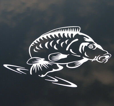 JUMPING CARP White Exterior Vinyl Angling Fishing Car Van Laptop StickerDecal