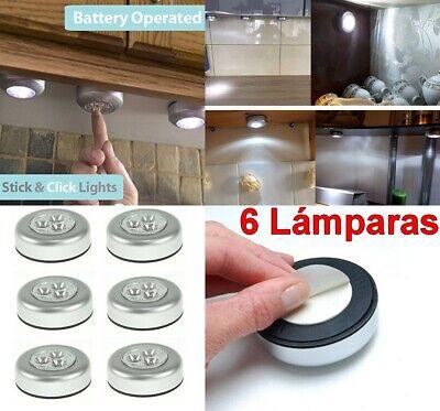Pack 6 x lampara foco portatil luz LED blanca redonda adhesiva con...