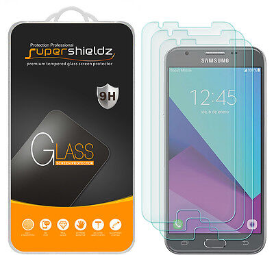 3X Supershieldz Samsung Galaxy J3 Luna Pro Tempered Window-pane Screen Protector Saver