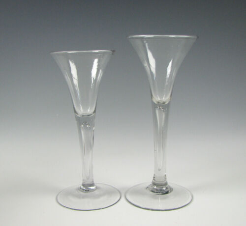 2 Antique 18th Century Non Lead Toasting or Wine Glasses