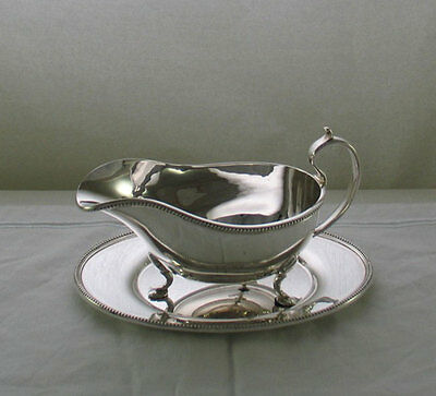 Sauce/Gravy Boat & Saucer, Bead Applied Border, 0.75 Pint