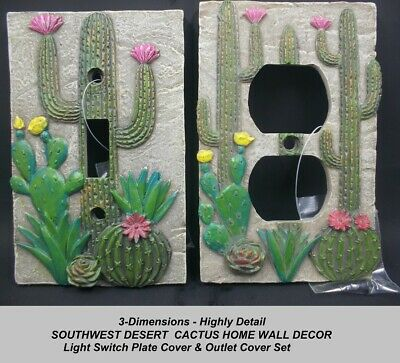 3D SOUTHWEST DESERT CACTUS Decor  Light Switch Plate Cover & Wall Plate Outlet  ()