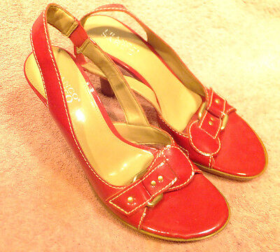 FRANCO SARTO Red Patent Leather Buckle Detail Sling Back Open Toe Heels Sz 8.5M