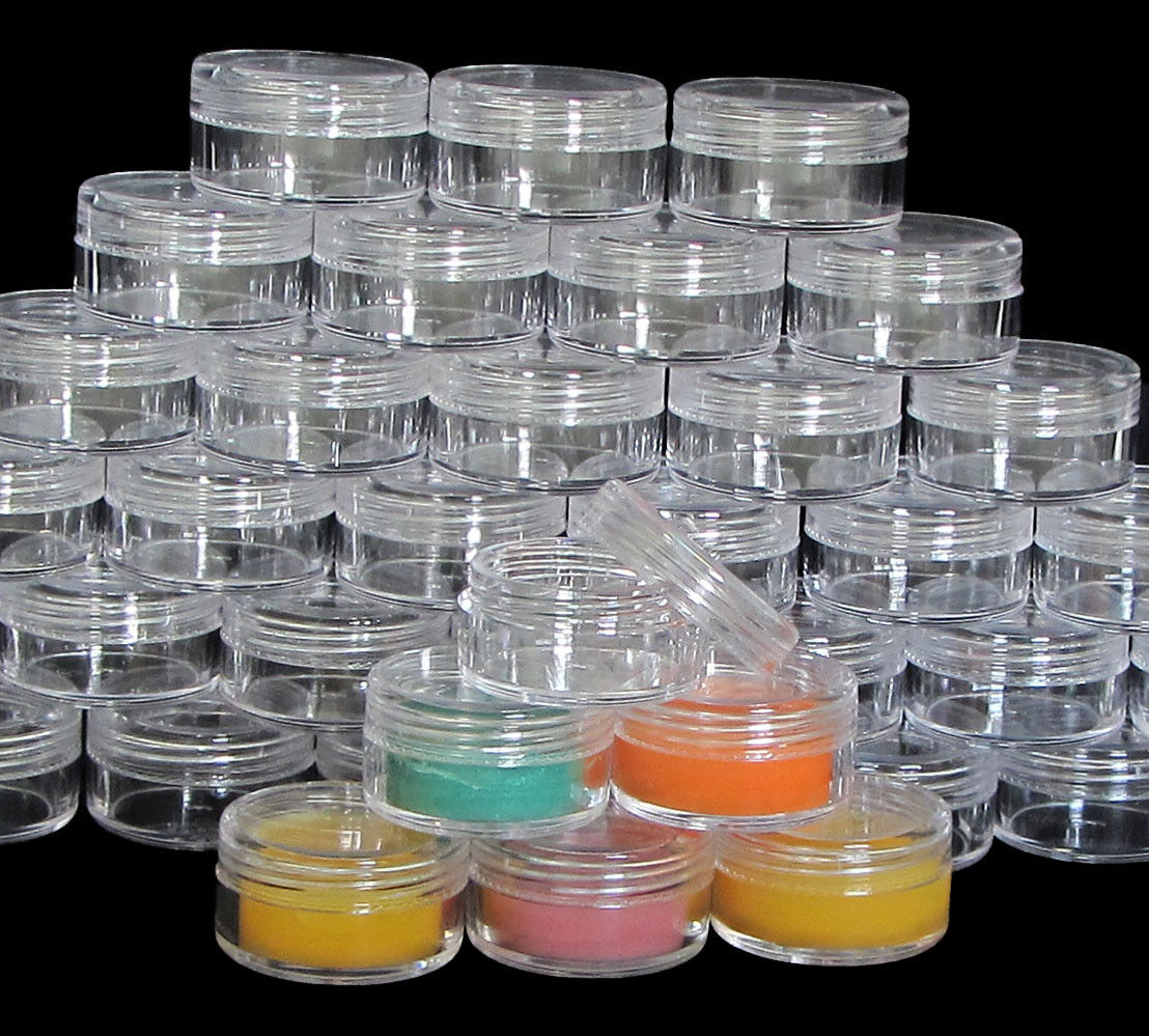 50 Empty Lip Balm Beauty Containers Makeup Jars Clear Lid 10