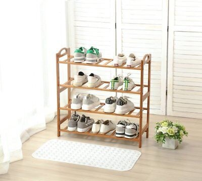 4 Tier Bamboo Shoe Rack Entryway Shelf Holder Storage Organizer Furniture US