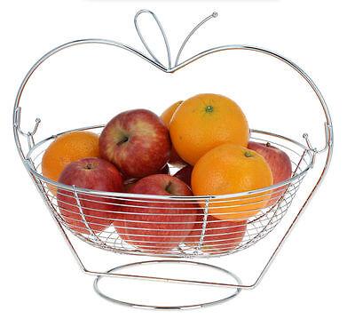 Obstkorb verchromt - im Apfel Design - Obst Schale Korb Früchte Metallkorb Deko