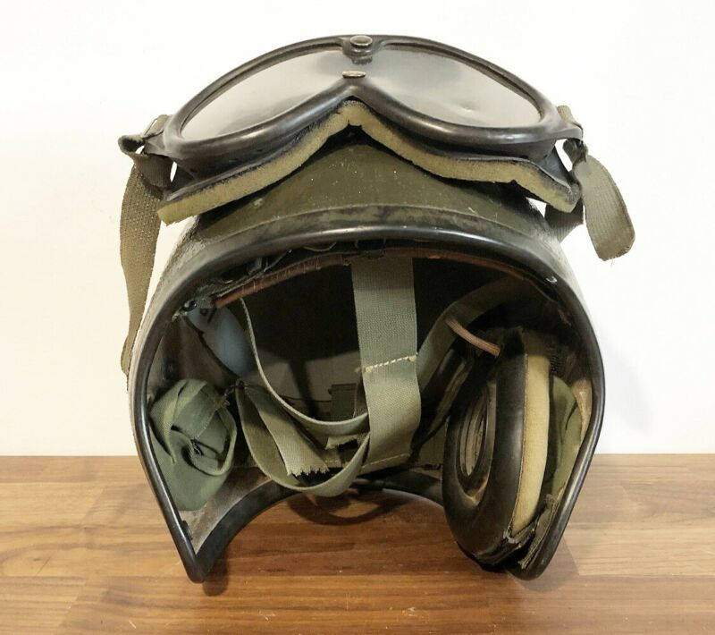 VIETNAM WAR ERA US GI TANK / ARMOR CREWMAN HELMET-SCARCE W/ GOGGLES
