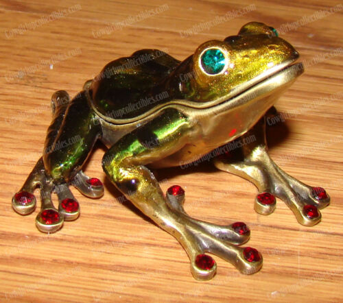 Antiqued Water Frog (4004A) Pewter, Baked Enamel Finish, Australian Crystals