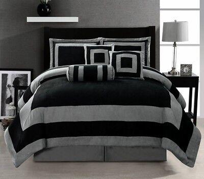 Oversize Black Grey Patchwork Micro Suede Bed in a Bag FULL Size Comforter (Black Microsuede Comforter Set)