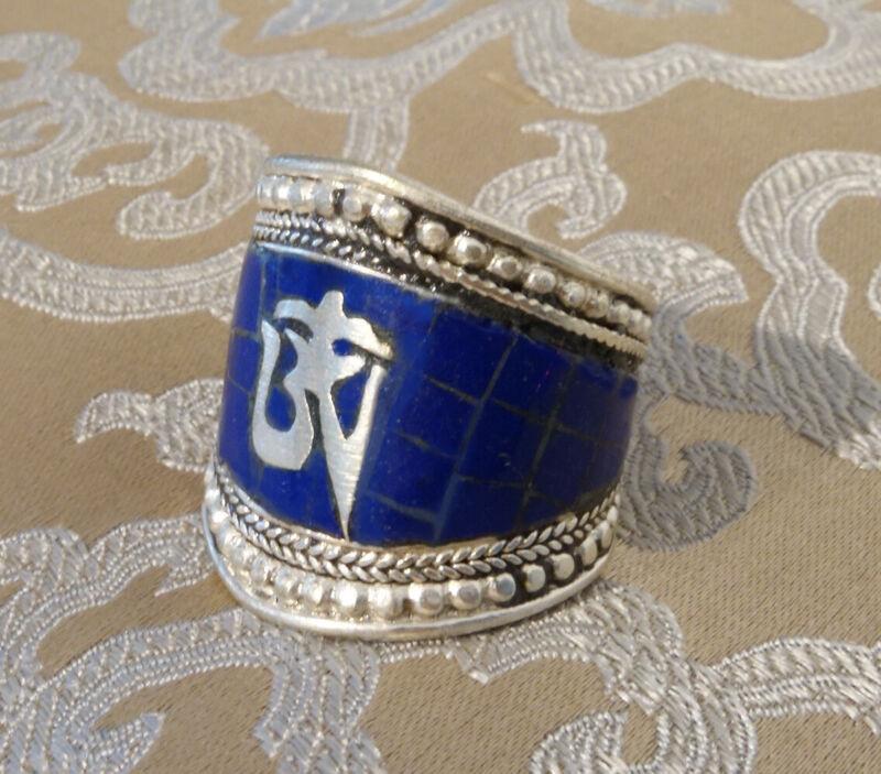 Beautiful Silver Men - Ring Made From Tibet Lapislazuli & Om 0 3/4-0 29/32in