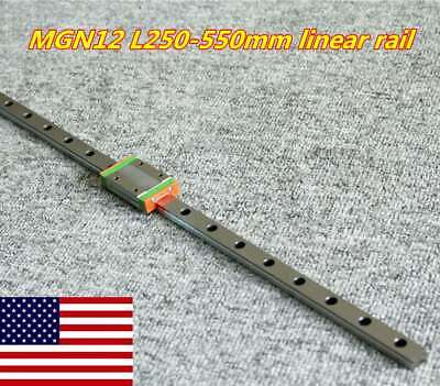 Mgn12h Linear Sliding Miniature Guide 250-550mm With 1pcs Block For Cnc Diy