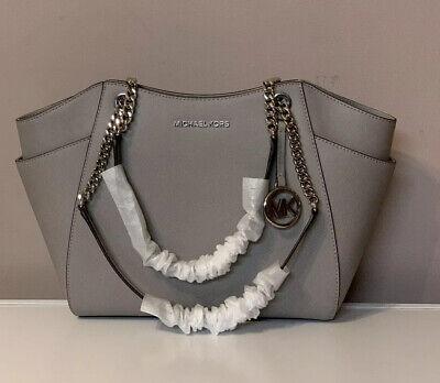 MICHAEL KORS Jet Set Travel Large Chain Shoulder Tote Leather Bag Pearl Grey NWT
