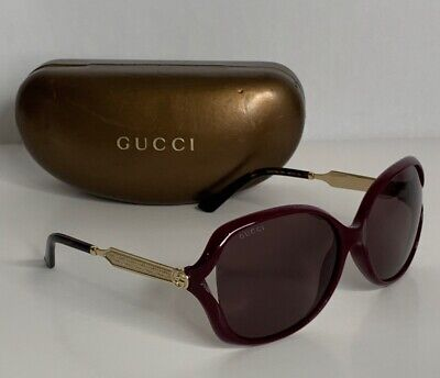 Gucci GG0076S Sunglasses - Burgundy/Gold (004)