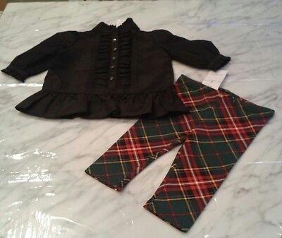 NWT, RALPH LAUREN Baby Girl Black Ruffled Shirt Rhinestone & Leggings Buttons 6M