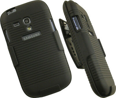 BLACK HARD CASE COVER BELT CLIP HOLSTER STAND FOR SAMSUNG GALAXY S3 MINI - Samsung S3 Case