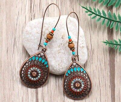 Long Dangle Drop Earrings Vintage Boho Ethnic Bronze Turquoise For Women UK