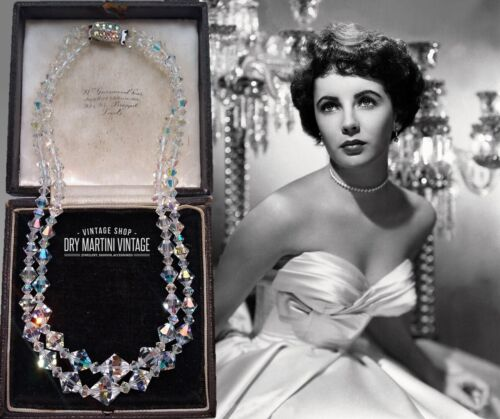 VINTAGE AURORA BOREALIS CLEAR CRYSTAL DOUBLE STRAND NECKLACE SIGNED EXQUISITE