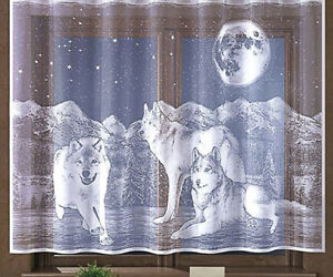 Kids Children Net Curtain Wolves Wolf Animals White Slot Top - Ready made