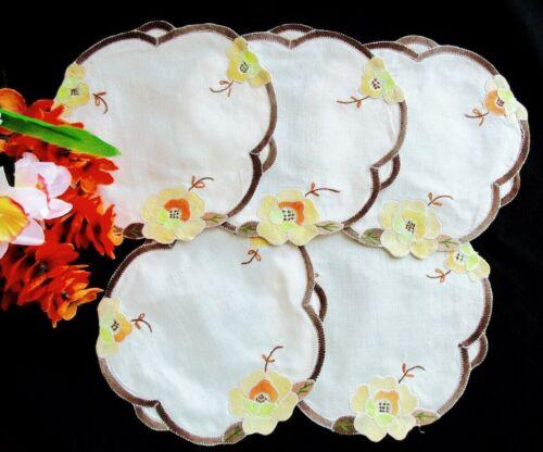 5 Vintage Mid-Century Hand-Embroidery Appliqué Doilies Yellow Orange Brown Cream
