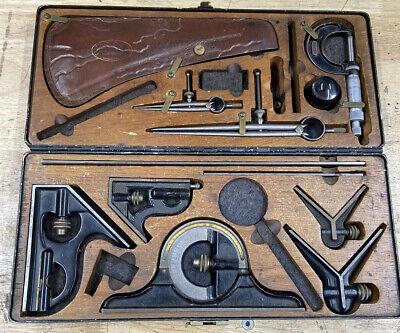 Rare Vintage Starrett Helios Micrometer Caliper Square Set Kit