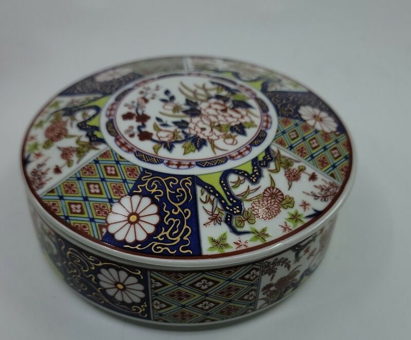 Imari Empress Japanese Candy Dish with Lid 5.75""