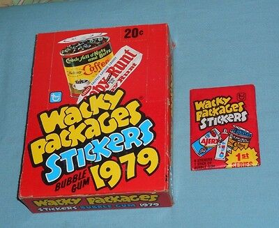 vintage Topps 1979 WACKY PACKAGES RETAIL STORE DISPLAY BOX & wax pack stickers