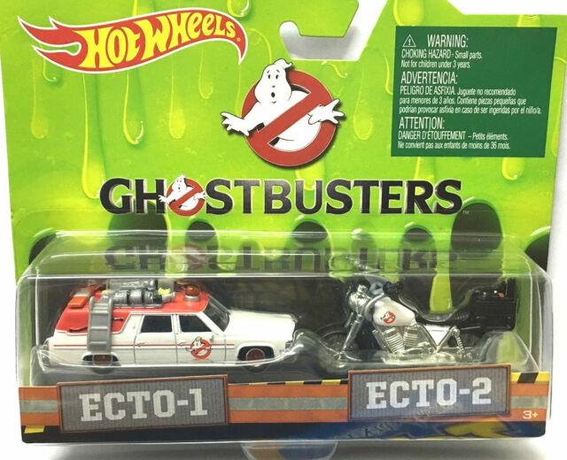 Hot Wheels 2 Cars Set Ghostbusters ECTO-1 & ECTO-2 Motorcycle Blister Card