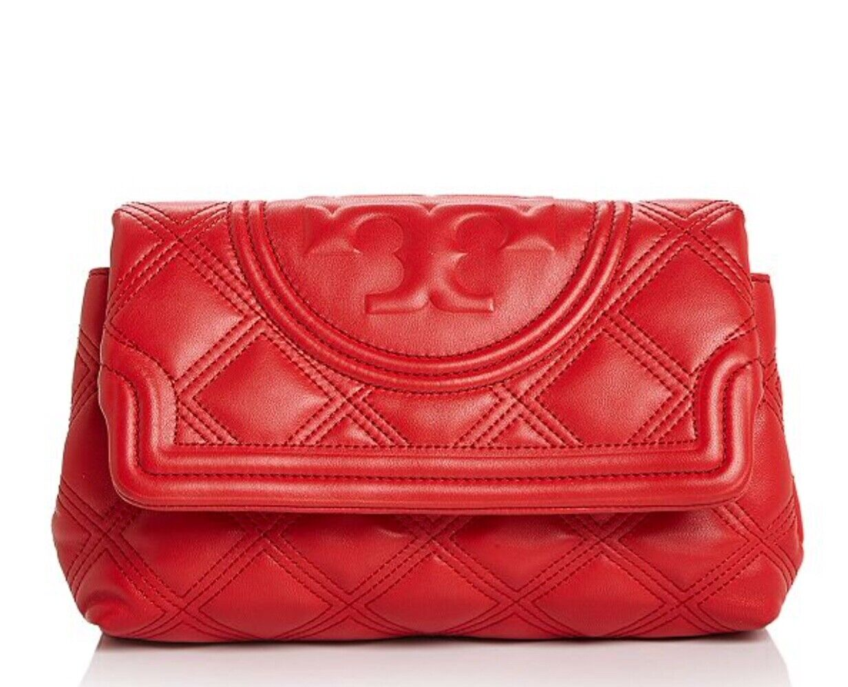 NWT TORY BURCH 398 BRILLIANT RED FLEMING SOFT LEATHER CLUTCH BAG