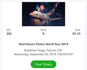 ONE ticket to Niall Horan in Toronto