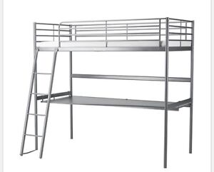 Bunk bed desk and mattress. 250.00