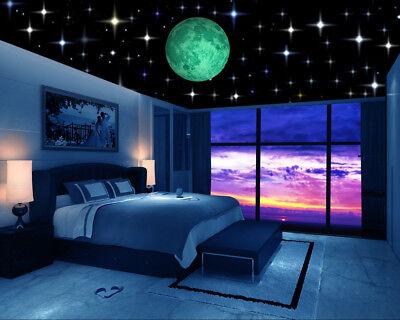 Glow in the Dark Stars w/ Bonus 20cm Moon Wall Decal, Wall Stickers, Room decor! (Glow In The Dark Stars Stickers)