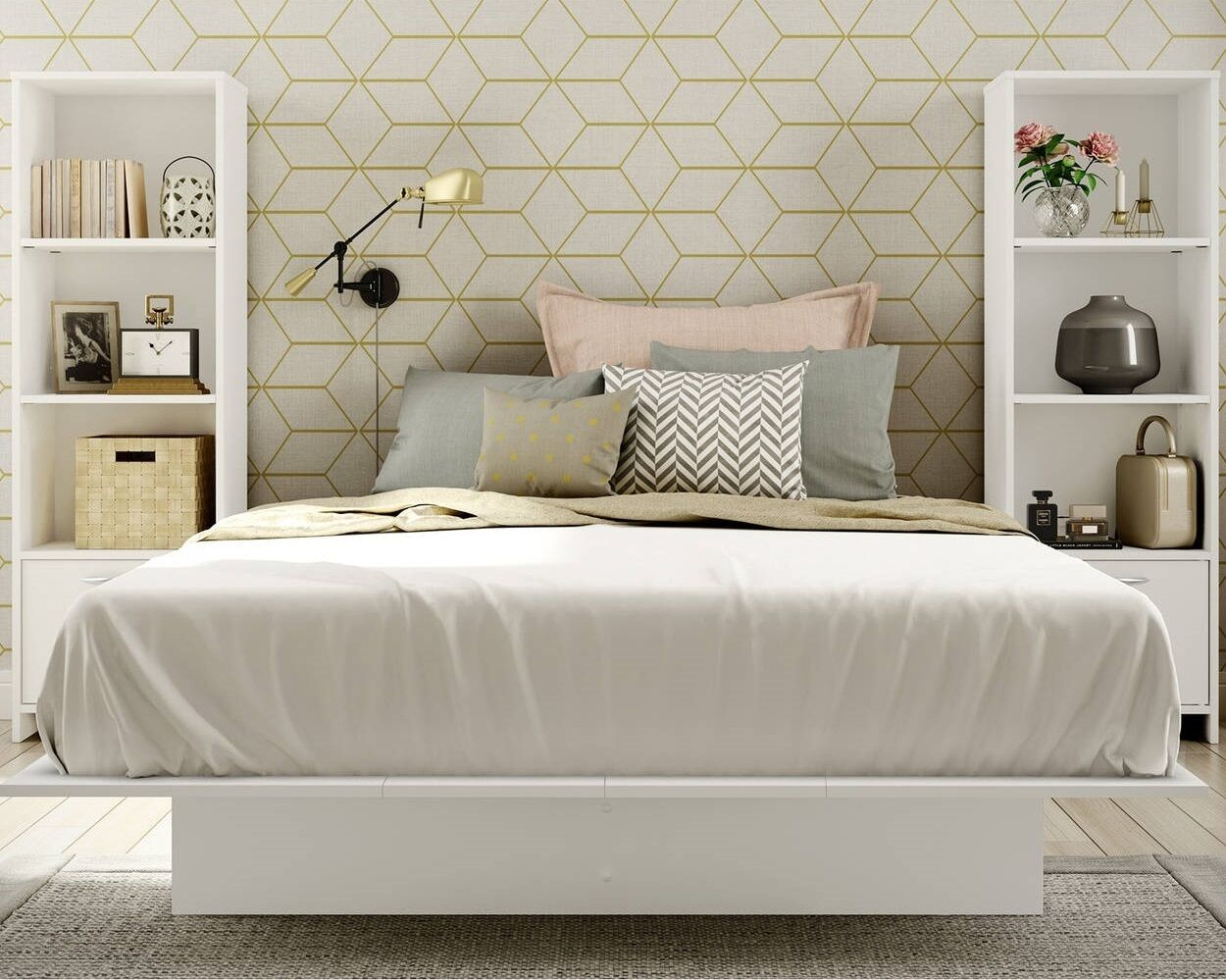 White 3 Piece Full Platform Bed Bookcase Nightstand Set Home