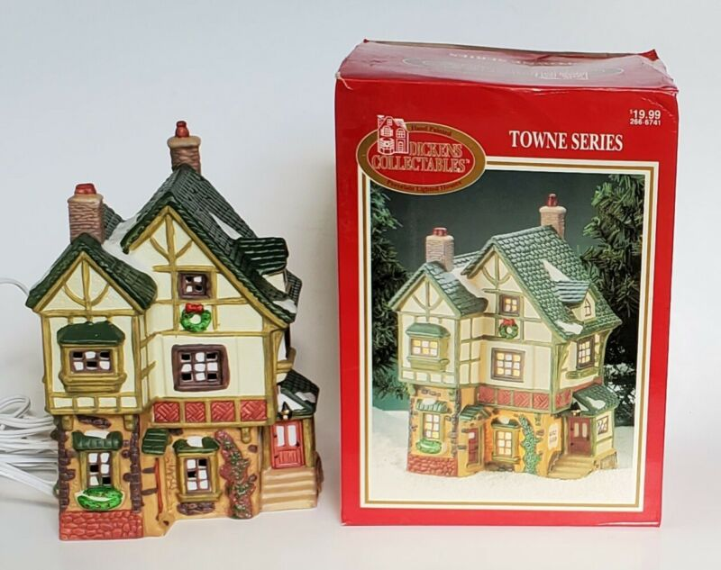 Dickens Collectables Towne Series Lighted Quilt Store Porcelain House