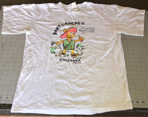 Vintage Bootleg Bart Simpson T-Shirt Large Bart Sanchez 1990s Simpsons Cotton