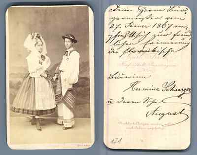 Hermine Schwarzer, costume traditionnel Wien vintage albumen CDV carte de - Hermine Costume