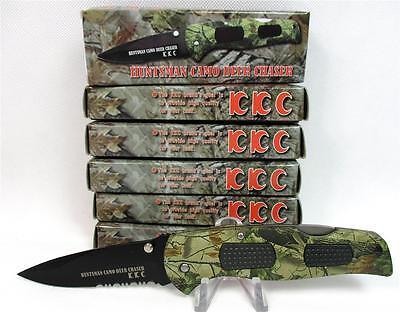 Wholesale Lot Of 6 Huntsman Camo Deer Chaser Lockback Pocket Knives Knife A 3