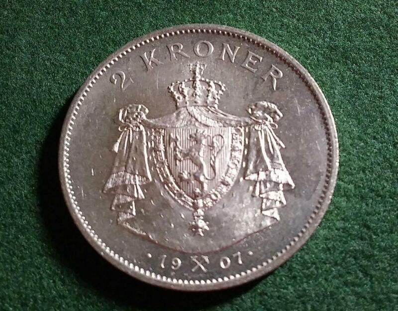 NORWAY - 1907 silver 2 Kroner - Small Shield - Frosty BU