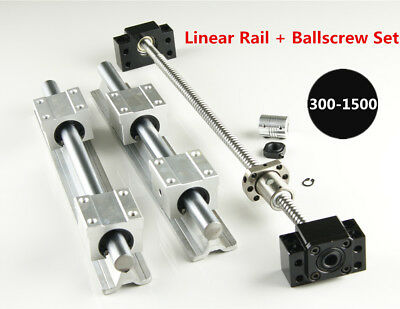 Sbr16 Linear Rail L300-1500mm Set Sfu1204 Blallscrew Kit For Cnc Diy