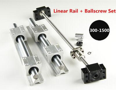 Sbr16 Linear Rail L300-1500mm Set Sfu1204 Blallscrew Kit For Cnc Diy