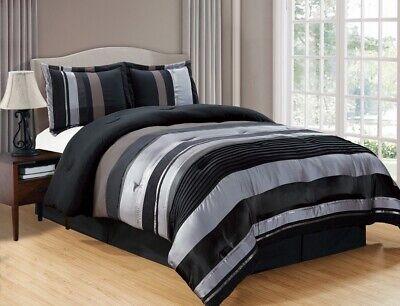 4Pc CAL King Black Silver Stripe Oversize Chenille Comforter Set Bedding California King Chenille Comforter